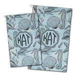 Sea-blue Seashells Golf Towel - Full Print w/ Monogram