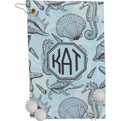 Sea-blue Seashells Golf Towel - Full Print (Personalized)