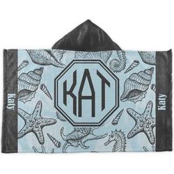 Sea-blue Seashells Kids Hooded Towel (Personalized)