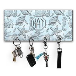 Sea-blue Seashells Key Hanger w/ 4 Hooks w/ Monogram