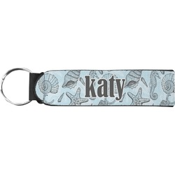 Sea-blue Seashells Neoprene Keychain Fob (Personalized)