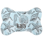 Sea-blue Seashells Bone Shaped Dog Food Mat (Personalized)