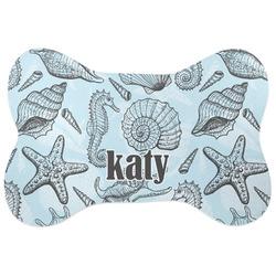 Sea-blue Seashells Bone Shaped Dog Food Mat (Large) (Personalized)