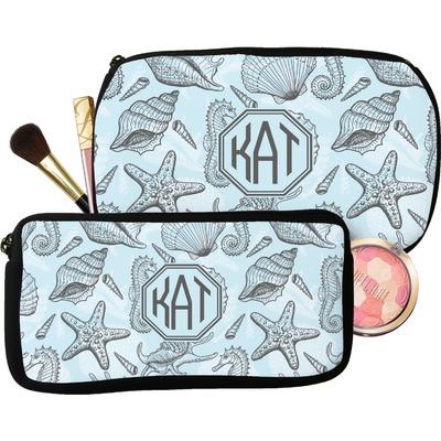 Sea-blue Seashells Makeup / Cosmetic Bag (Personalized)