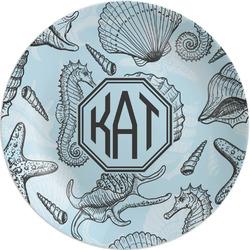 "Sea-blue Seashells Melamine Plate - 8"" (Personalized)"
