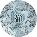 Sea-blue Seashells Melamine Plate (Personalized)