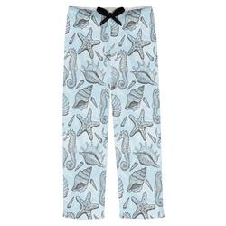 Sea-blue Seashells Mens Pajama Pants (Personalized)