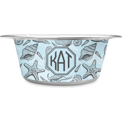 Sea-blue Seashells Stainless Steel Dog Bowl (Personalized)