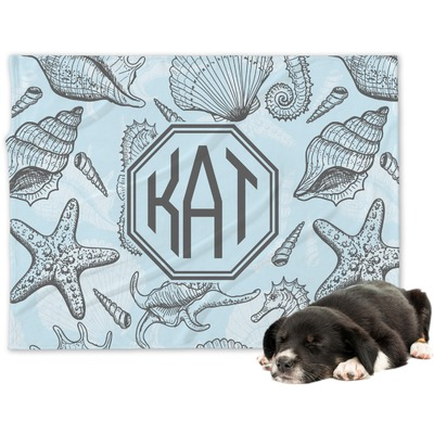 Sea-blue Seashells Dog Blanket (Personalized)
