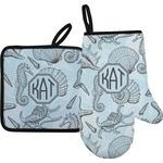 Sea-blue Seashells Oven Mitt & Pot Holder (Personalized)