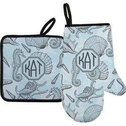 Sea-blue Seashells Oven Mitt & Pot Holder (Personalized)