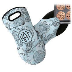 Sea-blue Seashells Neoprene Oven Mitt (Personalized)