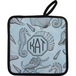 Sea-blue Seashells Pot Holder (Personalized)