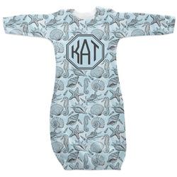 Sea-blue Seashells Newborn Gown (Personalized)