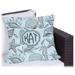 Sea-blue Seashells Outdoor Pillow (Personalized)