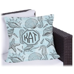 """Sea-blue Seashells Outdoor Pillow - 18"""" (Personalized)"""