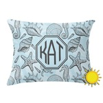 Sea-blue Seashells Outdoor Throw Pillow (Rectangular) (Personalized)