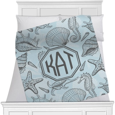 Sea-blue Seashells Minky Blanket (Personalized)