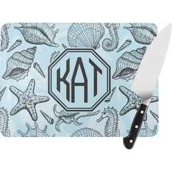 Sea-blue Seashells Rectangular Glass Cutting Board (Personalized)