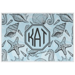 Sea-blue Seashells Laminated Placemat w/ Monogram