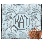 Sea-blue Seashells Outdoor Picnic Blanket (Personalized)