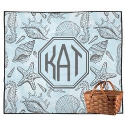 Sea-blue Seashells Outdoor Picnic Blanket (Personalized)