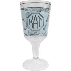 Sea-blue Seashells Wine Tumbler - 11 oz Plastic (Personalized)