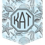 Sea-blue Seashells Iron On Faux Pocket (Personalized)