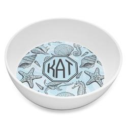 Sea-blue Seashells Melamine Bowl 8oz (Personalized)