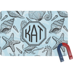 Sea-blue Seashells Rectangular Fridge Magnet (Personalized)