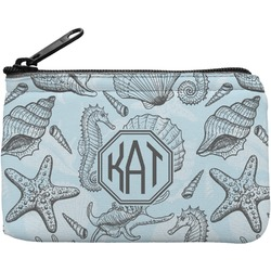 Sea-blue Seashells Rectangular Coin Purse (Personalized)