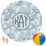 Sea-blue Seashells Round Beach Towel (Personalized)