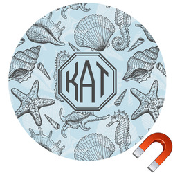 Sea-blue Seashells Round Car Magnet (Personalized)
