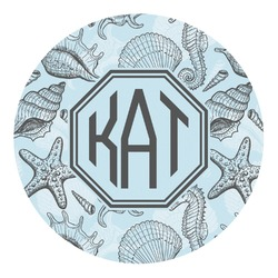 Sea-blue Seashells Round Decal (Personalized)