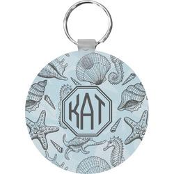 Sea-blue Seashells Round Keychain (Personalized)
