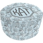 Sea-blue Seashells Round Pouf Ottoman (Personalized)