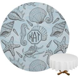Sea-blue Seashells Round Tablecloth (Personalized)