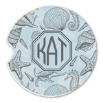 Sea-blue Seashells Sandstone Car Coasters (Personalized)