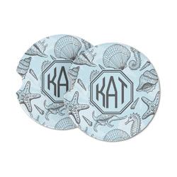 Sea-blue Seashells Sandstone Car Coasters (Personalized)