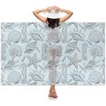 Sea-blue Seashells Sheer Sarong (Personalized)