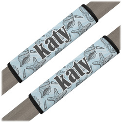 Sea-blue Seashells Seat Belt Covers (Set of 2) (Personalized)