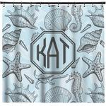 Sea-blue Seashells Shower Curtain (Personalized)