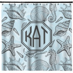 Sea-blue Seashells Shower Curtain (Personalized)