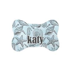 Sea-blue Seashells Bone Shaped Dog Food Mat (Small) (Personalized)