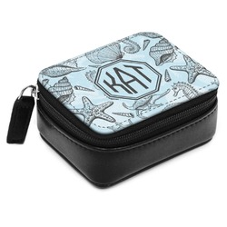 Sea-blue Seashells Small Leatherette Travel Pill Case (Personalized)