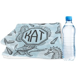 Sea-blue Seashells Sports Towel (Personalized)