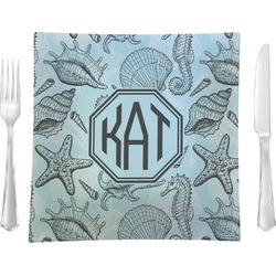 """Sea-blue Seashells Glass Square Lunch / Dinner Plate 9.5"""" - Single or Set of 4 (Personalized)"""
