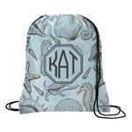 Sea-blue Seashells Drawstring Backpack (Personalized)