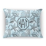 Sea-blue Seashells Rectangular Throw Pillow Case (Personalized)