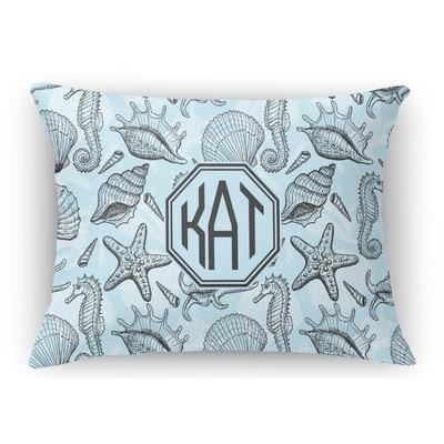 Sea-blue Seashells Rectangular Throw Pillow Case (Personalized)